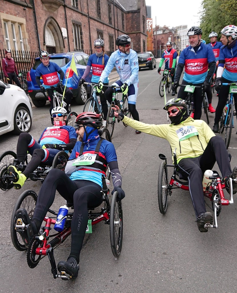 Cold start with friends, on Tour de Yorkshire Sportive